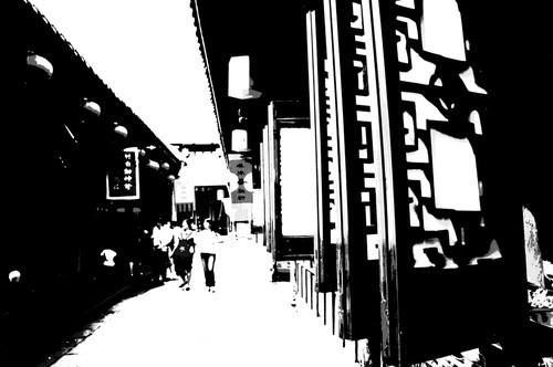 黑白广州塔手绘